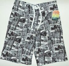 Men's Grey with Beach Paradise Pictures detail Board/Swim Shorts