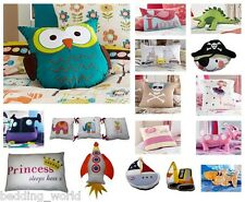 FILLED CUSHIONS NOVELTY KIDS RETRO DECORATIVE SCATTER OWL PIRATE BLUE RED GREEN
