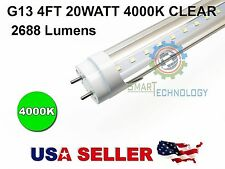 "G13 4FT 20W 4000K CLEAR T8 48"" LED Tube Light Fluorescent Replacement Lamp Bulbs"