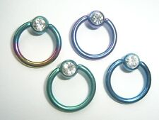 1.6mm x 16mm CRYSTAL JEWELLED SOLID TITANIUM NIPPLE BELLY BCR BALL CAPTIVE RING