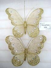 *SET OF 2* LOVELY BUTTERFLY DECORATION/CLIPS: GOLD *Wedding/Party/Home Dec*