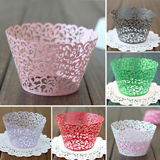 12pcs Filigree Vine Cupcake Cups Cake Wrapper Paper Deco For Party Decoration #T