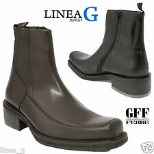 GFF Gianfranco Ferrè leather man boots with fur Stivaletti uomo pelle con pelo