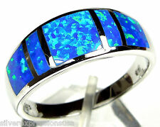 Deep Blue Fire Opal Inlay Solid 925 Sterling Silver Men's Band Ring size 10-13