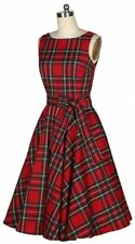 RED PLAID TARTAN HOLIDAY DRESS rockabilly  swing Vintage 80's 1950s 50's pinup