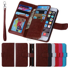 Premium Leather Card Holder Handbag Folio Wallet Case For iPhone Samsung HTC LG