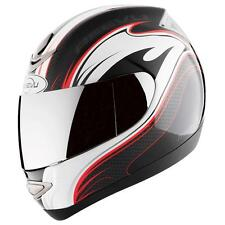 Reevu MSX1 Carbon Effect Graphic Red Rear View Motorcycle Bike Scooter Helmet