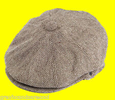 Brown Flat Cap 8 Panel Newsboy Baker Boy Gatsby Peaky Blinders Jaxon Herringbone
