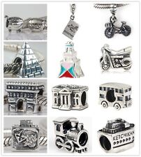 925 Sterling Silver Happy Holiday Traveling Bead Fit European Charm Bracelet AN