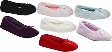 New Pink K Women's Bernice Terry Cozy Lounge Slip On Ballet Home Slippers Shoes