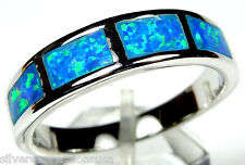 Blue Fire Opal Inlay Solid 925 Sterling Silver Men's Band Ring All Sizes