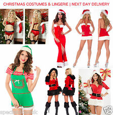 CHRISTMAS SANTA COSTUME MINI DRESS VELVET LONG GOWN ELF VELVET BRA SET TOP HAT