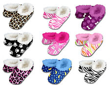 New Snoozies Slippers Kids Teenagers Women Fuzzy House Shoes No Skid Size 5-6