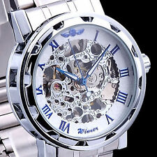 Classic Mens Women Skeleton Steampunk Steel Automatic Mechanical Wrist Watch MT