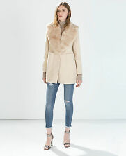 ZARA  WOOL COAT WITH PATCH POCKETS AND FUR LAPEL 57% WOOL COLLECTION 2014-2015