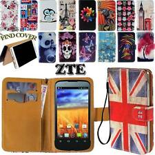New Folio Leather Stand Card Wallet Magnetic Cover Case For Various ZTE Phones