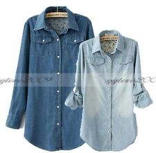 Women's Casual Long Sleeve Retro Vintage Blue Jean Denim Shirt Tops Blouse