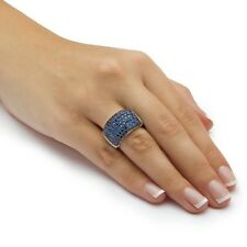 Glitzy Pave Blue Sapphire CZ 14MM Wide+ Clear CZ Sides Cubic Zirconia Band Ring