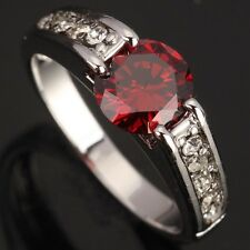Fashion Jewelry Red Garnet GORGEOUS Gems Silver Rings US#Size5 6 7 8 9 T0786