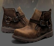 Mens Leather Harness Riding Ankle Boots Strapped Pull-on Casual Motorcycle Shoes