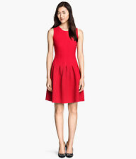 H&M-Super Red Holiday Christmas Sleeveless Pleated Dress XS,S,M Limited Edition