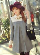 Women Autumn Winter Fashion Sweet Big Size Long Sleeve Baby Neck Down Dress