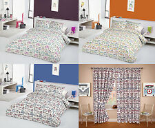 Happy Campers Bay Window Splitscreen VW Campervans Mod Fabric Quilt Duvet Cover