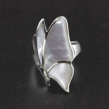 Womens 925 Sterling Silver Handmade Mother Of Pearl Butterfly Ring