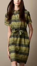 Clearance! Burberry $676 Green Striped Silk Cotton Dress,Size S,M,Authentic!