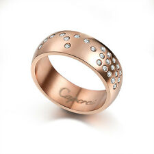 Rose Gold Plated Ring Stainless Steel With Stone CZ Love For Men Women 8MM