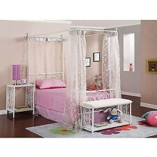 Canopy Wrought Iron Bed frame w headboard & footboard 4 post twin girls kids NEW