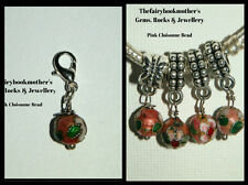 EUROPEAN OR LOBSTER CLASP CLIP ON STYLE PINK CLOISONNE BEAD DROP DANGLE CHARMS