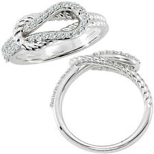 0.33 G-H Diamond Rope Love Knot Promise Wedding Bridal Women Ring 14K White Gold