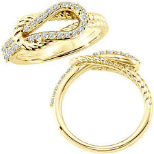 0.34 G-H Diamond Rope Love Knot Engagement Promise Women Ring 14K Yellow Gold