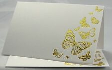 Wedding Table Place Name Cards Gold Embossed Butterflies On White Card