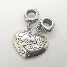 Mother's day gift silver 'mother daughter' lovely heart dangle charm bead YB146