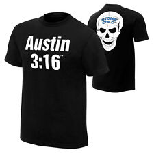Stone Cold Steve Austin 3:16 Retro Skull Black WWE Authentic T-Shirt OFFICIAL