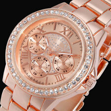 Stainless Steel Golden Crystal Dial Analog Quartz Women Bracelet Wrist Watch MT