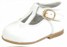 DE OSU Spain - Girls First Walker White Leather Dress Shoes S-7347D - Euro