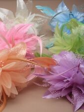 fascinator on band in soft  colours peach, lilac,green,pink,blue