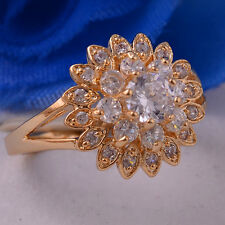 14K Gold Filled Women White Topaz Gems Size 6 7 8 9 10 Ring Fashion Jewelry