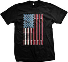 Barbell and Kettle Bell USA Flag- Work Out Exercise Weight Lifting Mens T-shirt