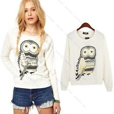 Fashion Owl Printed Long Sleeve Pullover Hoodies Sweat Tops Blouse Outwear Shirt