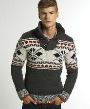 New Mens Superdry Oarsmen Henley Jumper Grey Marl Fairisle