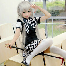 Womens Girls Anime Sexy Cosplay Plaid Grid Apron Maid Dress Costume Battle Dress