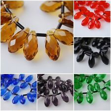 30pcs Loose Teardrop Glass Crystal Spacer Beads Crafts Jewelry Findings 10x20mm