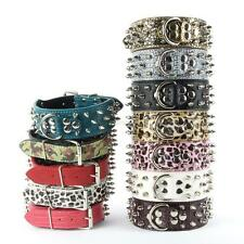 Hot Rivet Studded Collar Leather Spiked Small Medium Pet Dog Mastiff Collar B70