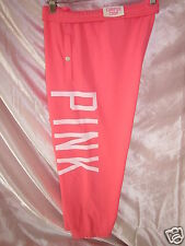 Nwt VICTORIAS SECRET Bright Coral CAMPUS CROP Soft SWEAT PANTS Bottoms PiNK S