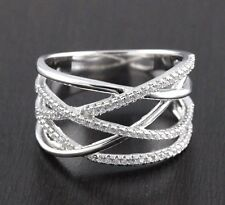 Womens Solid 925 Sterling Silver CZ Micro Pave Highway X Knuckle Ring