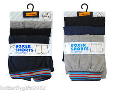 3 Pairs Boys Cotton Boxer Shorts Underwear Grey-Blue-Black All Sizes